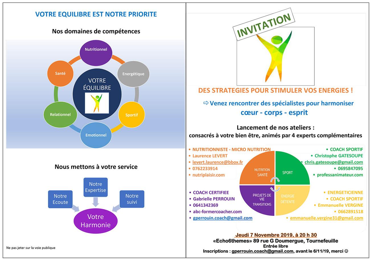 Santé et équilibre - flyer de l'atelier co-organisé par C. Gatesoupe en OPC